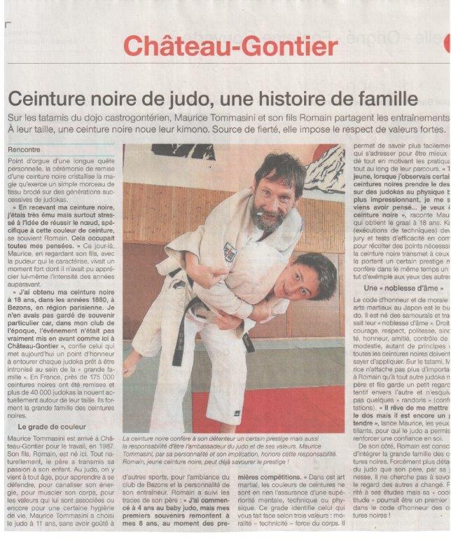 Ouest France 16-07-2014 Ceinture noire de judo, une histoire de famille