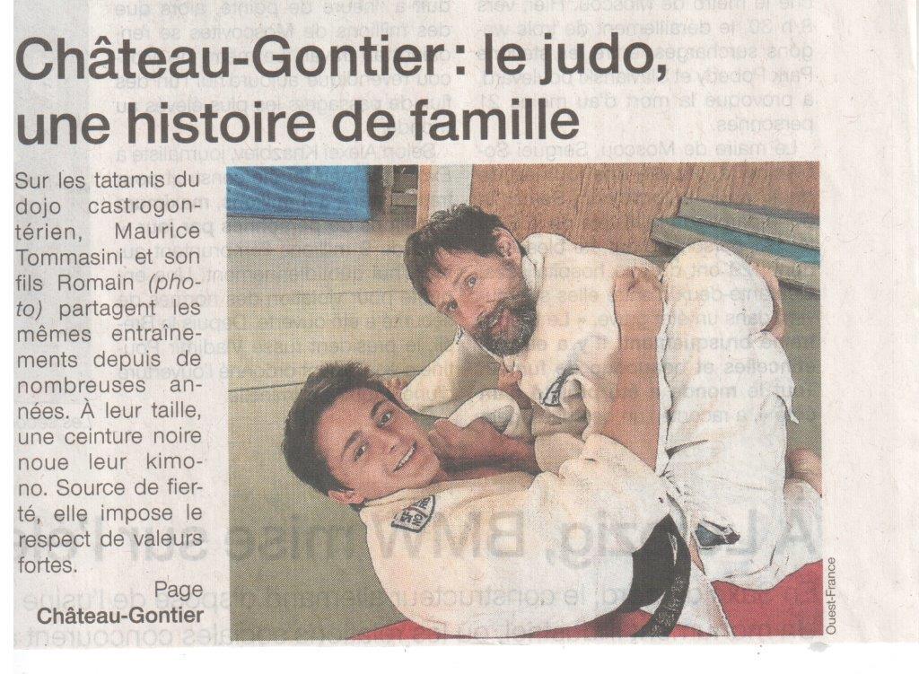 Ouest France 16-07-2014 Le judo, une histoire de famille (Première page)