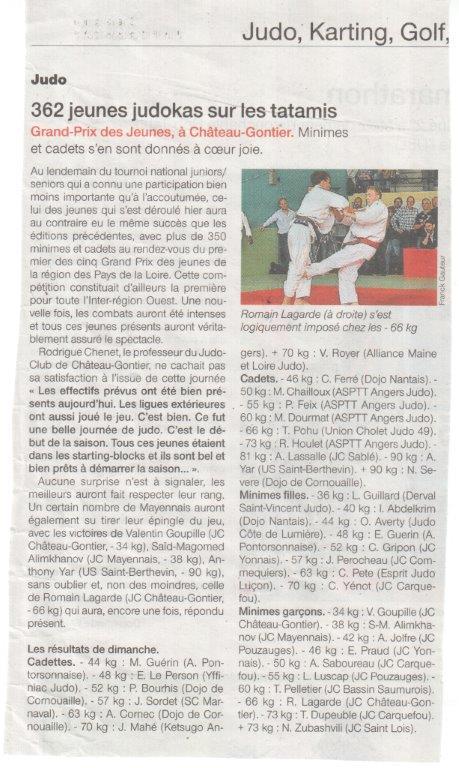Ouest France 13-10-2014 362 Jeunes judokas sur les tatamis