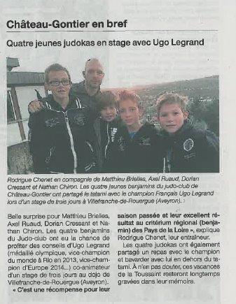 Ouest France quatre jeunes judokas en stage avec Ugo Legrand 04-11-2014